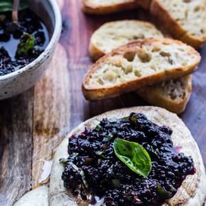 Grilled Brie and Chard Bread with Blackberry Basil Smash Salsa.
