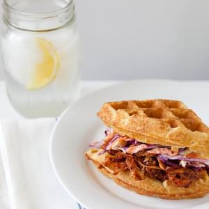 Barbecued Chicken and Waffle Sandwiches