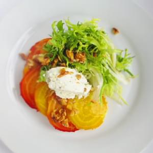 Roasted Beet Salad with Frisee, Herbed Goat Cheese, Toasted Walnuts, and Lemon Vinaigrette