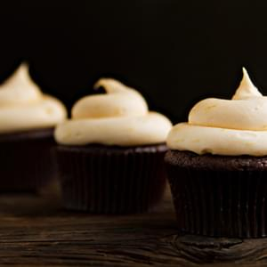 Chocolate Cupcakes with Orange Cream Cheese Frosting