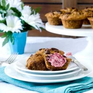 Gluten Free Banana Berry Muffins with Raspberry Butter