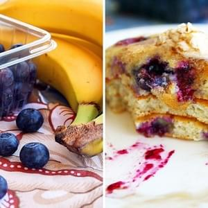 Banana and Blueberry Pancakes with Cinnamon-Vanilla Butter