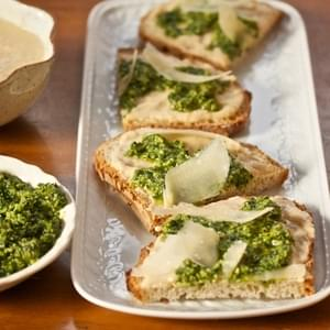 White Bean & Arugula-Walnut Pesto Tartines