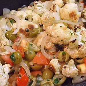 Roasted Cauliflower with Tomato and Green Olives