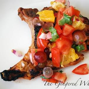 Grilled Pork Chops with Orange and Grape Salsa
