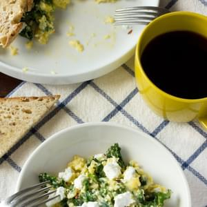 Scrambled Eggs with Goat Cheese, Greek Yogurt & Greens