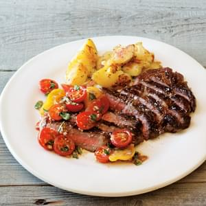 Pan-Fried Steak, Rosemary Potatoes, and Tomato Relish