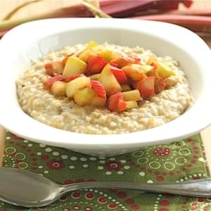 Steel Cut Oats with Rhubarb and Apple Topping