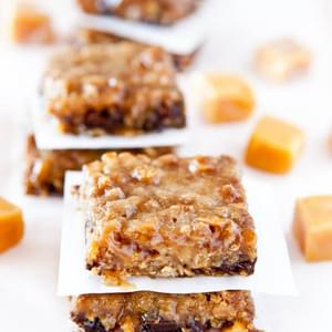 Caramel and Chocolate Gooey Bars (Gluten-Free with Vegan option)