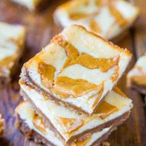 Peanut Butter-Swirled Cheesecake Bars with Brown Sugar-Graham Cracker Crust