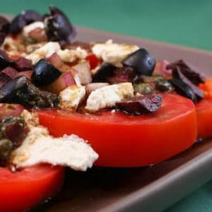 Sliced Tomato, Olive, and Goat Cheese Salad with Onion-Caper ...