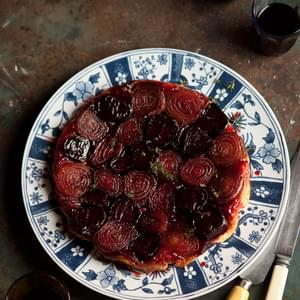 Roasted Onion And Beetroot Tart Tartin With Balsamic Caramel And Thyme