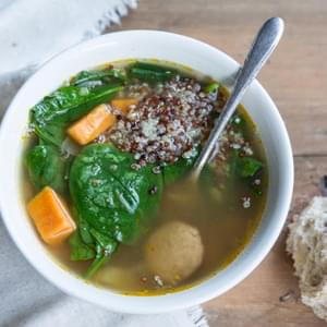 Sweet Potato Sausage and Spinach Soup