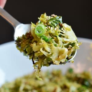 Warm Brussels Sprouts Slaw with Asian Citrus Dressing