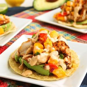 Grilled Shrimp and Avocado Tostadas with Mango Salsa and Chipotle Cream