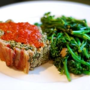 Super Porktastic Bacon-Topped Spinach and Mushroom Meatloaf