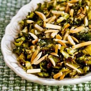 Shredded and Roasted Brussels Sprouts with Almonds and Parmesan