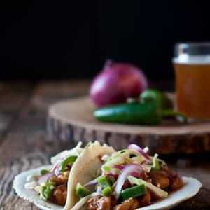 Slow Cooker Beer Chicken Tacos with Jalapeno Slaw