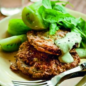 Fried Green Tomatoes with Buttermilk Green Goddess Dressing