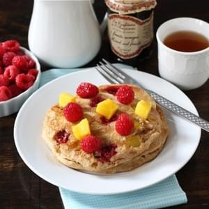 Whole Wheat Raspberry & Mango Pancakes