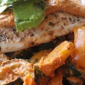 Roasted Garlic Red Pepper Pesto Tilapia