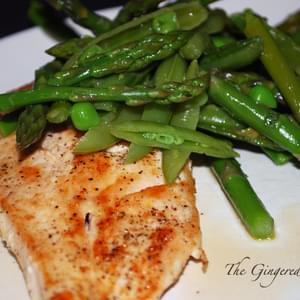 Chicken Scalliopine with Sugar Snap Pea, Asparagus, and Lemon Salad