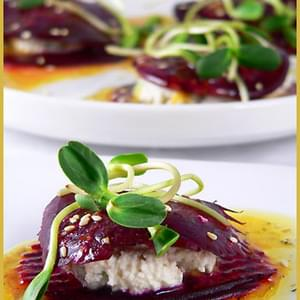 My Beetroot and Ricotta Mini Millefeuilles with Orange Dressing