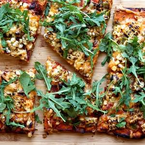 No-Knead Whole Wheat Pizza with Corn, Hatch Chile & Bacon