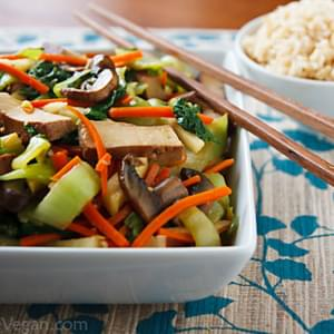 Bok Choy and Baked Tofu Stir-Fry in Ginger-Citrus Sauce
