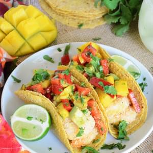 {30 Minute} Coconut Lime Shrimp Tacos with Mango, Red Pepper & Avocado Salsa
