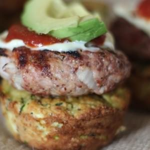 Grilled Mustard Sliders on top of Fritter Cups
