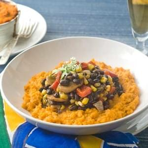 Gluten Free Southwestern Black Bean Stew with Sweet Potato Mash