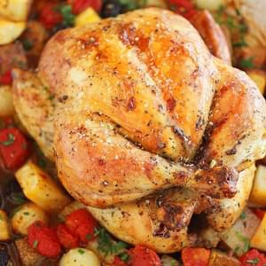 Pesto Roasted Chicken with Potatoes, Olives and Onions
