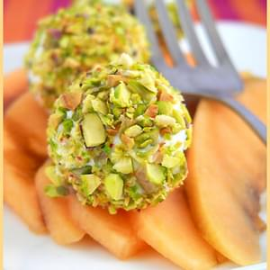 Melon With Fresh Goat Cheese and Pistachios