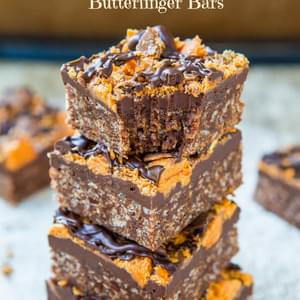 Chewy Chocolate Peanut Butter Butterfinger Bars (gluten-free)