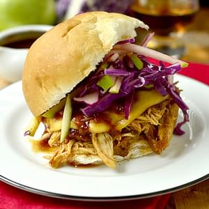 Crock Pot Bourbon Chicken Sammies with Crunchy Apple Slaw