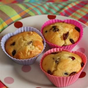 White Chocolate and Sour Cherry or Raspberry Heart Muffins