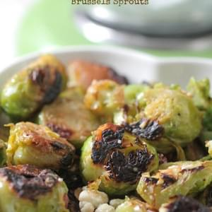 Gorgonzola, Almond and Pear Roasted Brussel Sprouts