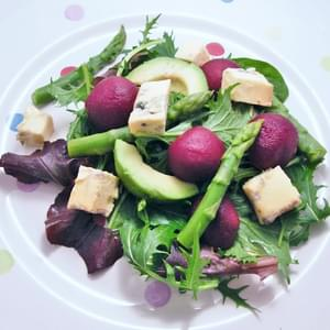 Asparagus, Avocado, Blue Cheese and Beetroot Salad
