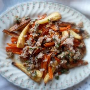 Roasted Parsnips and Carrots with a Walnut Sauce