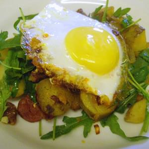 Chorizo, Rocket & New Potato Hash with a fried egg