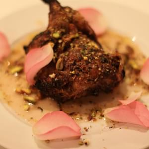 Grilled Quails with Rose Petals and Bitter Chocolate