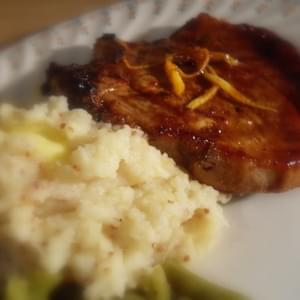 *Sticky Ginger Orange Chops with Parsnip, Potato and Honey Mustard Mash