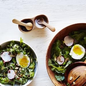 Arugula Breakfast Salad with Soft Boiled Eggs