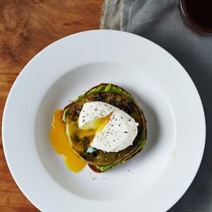 Fried Green Tomato Avocado Toast with Poached Eggs