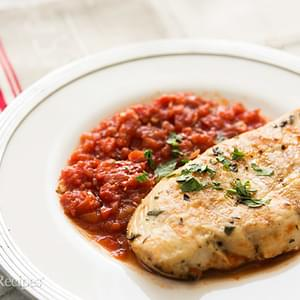 Grilled Chicken with Tomato Tarragon Sauce