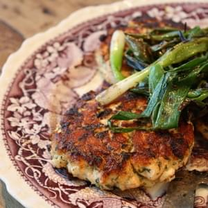 Asian Salmon Burgers with Grilled Scallions