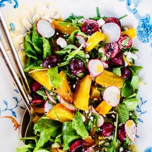 Golden Beet & Cherry Salad with Honey-Ginger Vinaigrette