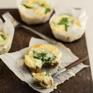 Mini Spinach Quiches with Flax Crust