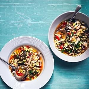 Chicken Soup With Orzo, Shredded Grape Leaves, Tomatoes, Lemon And Herbs